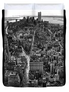 Nyc Downtown - Black And White Duvet Cover