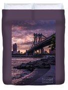 Nyc- Manhatten Bridge At Night Duvet Cover by Hannes Cmarits
