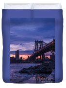 Nyc - Manhatten Bridge At Night II Duvet Cover by Hannes Cmarits