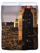 Nyc Midtown Golden Lights Duvet Cover