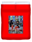 Nyc Red Chairs Duvet Cover