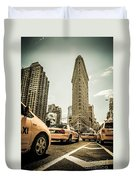 Nyc Yellow Cabs At The Flat Iron Building - V1 Duvet Cover by Hannes Cmarits
