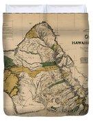 Oahu Sovereign Hawaii Map  1881 Duvet Cover