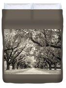 Oak Trees Of Charleston South Carolina In Sepia Duvet Cover
