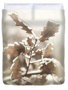 Oak Tree Leaves Frozen In Ice Duvet Cover