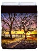 Oak Trees At Sunrise Duvet Cover
