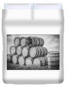 Oak Wine Barrels Black And White Duvet Cover