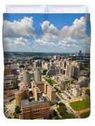 Oakland Pitt Campus With City Of Pittsburgh In The Distance Duvet Cover