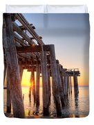 Ocean Grove Pier Sunrise Duvet Cover