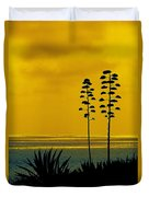 Ocean Sunset With Agave Silhouette Duvet Cover