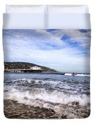 Ocean Waves Blue Sky And A Surfer At Malibu Beach Pier Duvet Cover