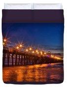 Oceanside Pier Evening Duvet Cover