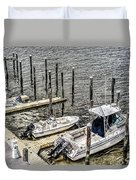 Ocnj Boats At Marina Duvet Cover