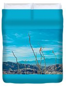 Ocotillo At Top Of Ladder Canyon With Salton Sea In Distance In Mecca Hills-ca Duvet Cover