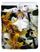 Gold And White Orchids Duvet Cover