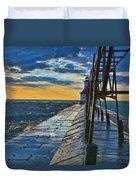 October Sunset At St. Joseph Lighthouse - Simulated Oil  Duvet Cover