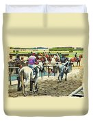 Off To The Race Duvet Cover