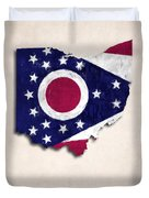 Ohio Map Art With Flag Design Duvet Cover