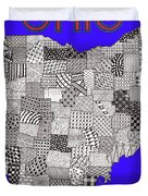 Ohio Map Blue Duvet Cover