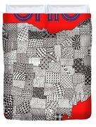 Ohio Map Red Duvet Cover