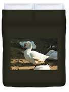 Oil Painting - A Duck Making A Pose Duvet Cover