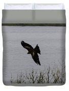 Oil Painting - A Large Bird Flying As Part Of The Birds Of Prey Show Duvet Cover