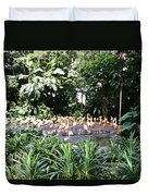 Oil Painting - A Number Of Flamingos Surrounded By Greenery In Their Enclosure  Duvet Cover