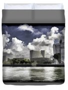 Oil Painting - Buildings Along The Waterfront In Singapore Duvet Cover