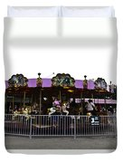 Oil Painting - Children And Adults At The Merry Go Round Inside The Blair Drumm Duvet Cover