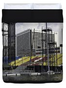 Oil Painting - Floating Platform And Construction Site In The Marina Bay Area Duvet Cover