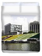 Oil Painting - Floating Platform In The Marina Bay Area In Singapore Duvet Cover