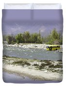 Oil Painting - Front Part Of School Bus In A Mountain Stream On The Outskirts Of Srinagar Duvet Cover