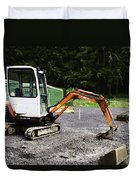 Oil Painting - Heavy Machinery Doing Some Excavation As Part Of Construction Duvet Cover