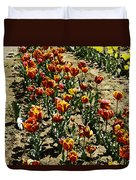 Oil Painting - Red And Yellow Tulips Inside The Tulip Garden In Srinagar Duvet Cover