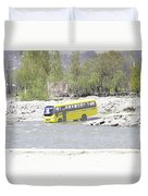 Oil Painting - School Bus In A Mountain Stream On The Outskirts Of Srinagar Duvet Cover