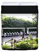 Oil Painting - Stationary Battery Powered Tourist Transport Vehicle Inside The Jurong Bird Park Duvet Cover