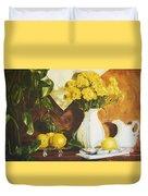 oil painting print of art for sale Golden Lemons  Duvet Cover