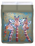 Oil Painting Of Three Gorgeous Giraffes Duvet Cover