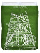 Oil Well Rig Patent From 1893 - Green Duvet Cover
