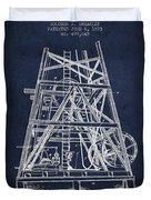 Oil Well Rig Patent From 1893 - Navy Blue Duvet Cover