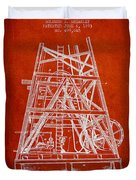 Oil Well Rig Patent From 1893 - Red Duvet Cover
