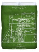 Oil Well Rig Patent From 1917- Green Duvet Cover