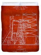 Oil Well Rig Patent From 1917- Red Duvet Cover