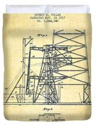 Oil Well Rig Patent From 1917- Vintage Duvet Cover