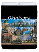 Oklahoma Collage With Words Duvet Cover