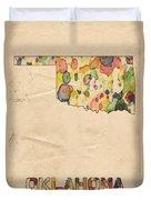 Oklahoma Map Vintage Watercolor Duvet Cover