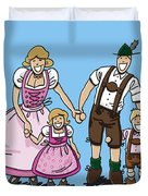 Oktoberfest Family Dirndl And Lederhosen Duvet Cover