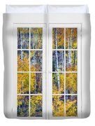 Old 16 Pane White Window Colorful Fall Aspen View  Duvet Cover