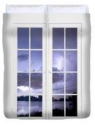 Old 16 Pane White Window Stormy Lightning Lake View Duvet Cover