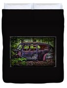 Old Abandoned Car In The Woods Duvet Cover